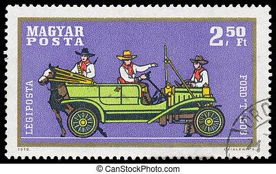 francobollo, automobile, guado, stampato, ungheria, mostra