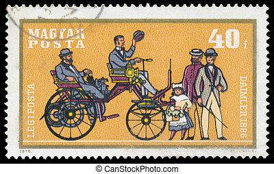 francobollo, automobile, stampato, ungheria, mostra, daimler