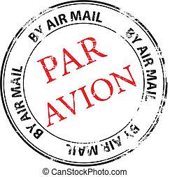 francobollo, avion, parità, vettore, grunge