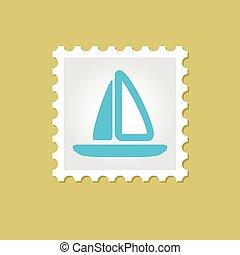 francobollo, barca vela, vettore