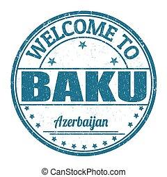 francobollo, benvenuto, baku, azerbaijan