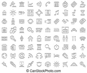 francobollo, bianco, icone