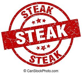 francobollo, bistecca, grunge, rotondo, rosso