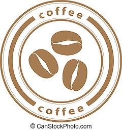 francobollo, caffè, vettore, fagioli