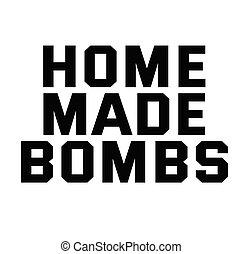 francobollo, casa, bianco, fatto, bombe