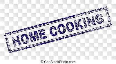 francobollo, casa cucinando, grunge, rettangolo