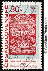 francobollo, cecoslovacchia, 1967, dettaglio, da, torah, tenda