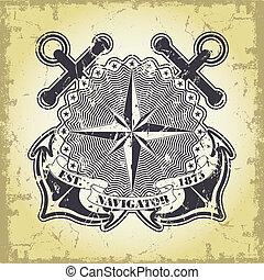 francobollo, con, uno, nautico, tema