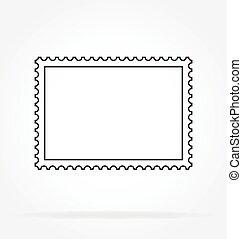 francobollo, contorno, classico, vettore, affrancatura, semplice