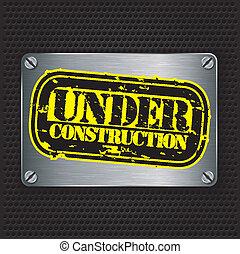 francobollo, costruzione, metallo, t, sotto