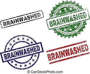 francobollo, danneggiato, textured, brainwashed, sigilli