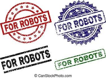 francobollo, danneggiato, textured, robot, sigilli