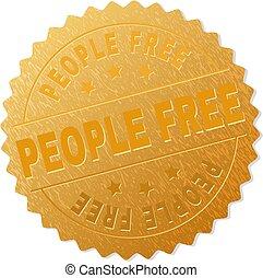 francobollo, distintivo, oro, libero, persone