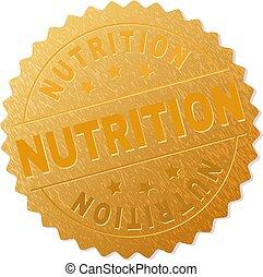 francobollo, dorato, distintivo, nutrizione