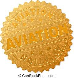 francobollo, dorato, medaglione, aviazione