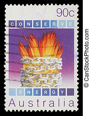 francobollo, energia, ambientale, stampato, australia, conservazione, mostra