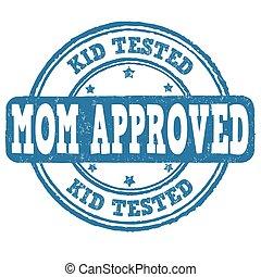francobollo, esaminato, approvato, mamma, capretto