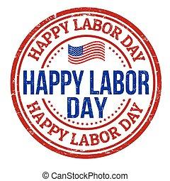 francobollo, felice, giorno, lavoro