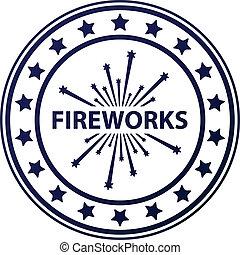 francobollo, fireworks, vettore