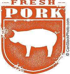 francobollo, fresco, carne di maiale, vendemmia