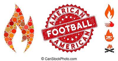 francobollo, fuoco, football, mosaico, icona, americano, graffiato, fiamma
