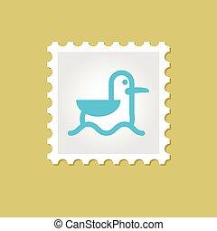 francobollo, gabbiano, vettore