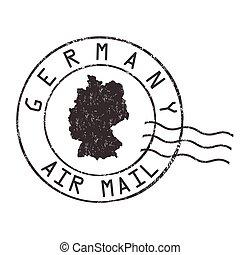 francobollo, germania, o, segno