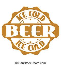 francobollo, ghiaccio, etichetta, birra, freddo, o