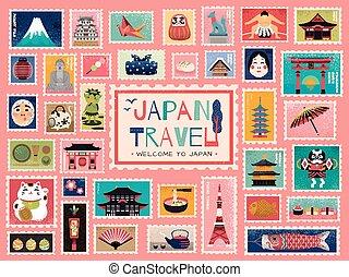 francobollo, giappone, viaggiare, concetto