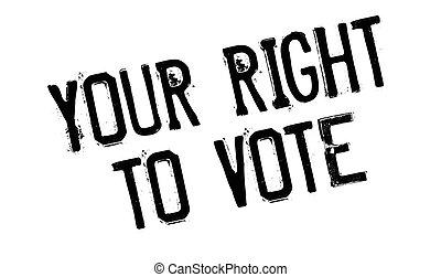 francobollo, gomma, destra, tuo, voto
