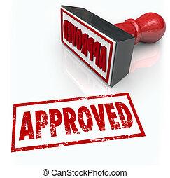 francobollo, gomma, risultato, approvazione, accettato, ...