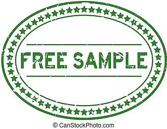 francobollo, grunge, campione, ovale, libero, verde, sigillo...