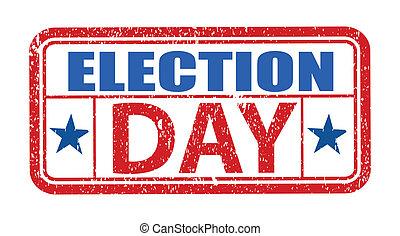 francobollo, grunge, elezione, giorno