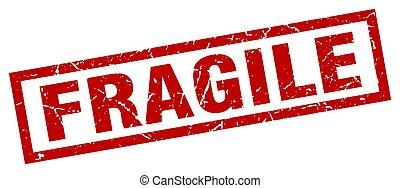 francobollo, grunge, fragile, quadrato, rosso