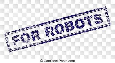 francobollo, grunge, robot, rettangolo