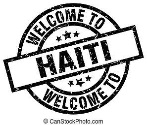 francobollo, haiti, benvenuto, nero
