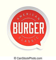 francobollo, hamburger, americano, classico, vendemmia