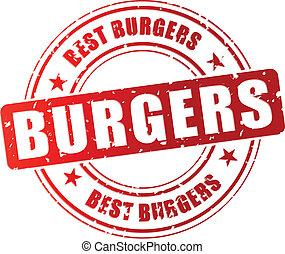 francobollo, hamburger, vettore, meglio