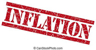 francobollo, inflazione, fondo, grungy, bianco rosso