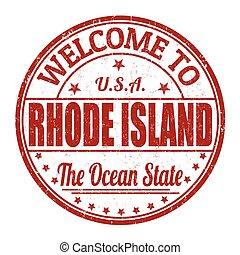francobollo, isola, benvenuto, rhode