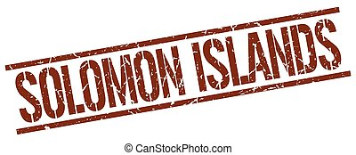 francobollo, isole, solomon, quadrato, marrone