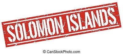 francobollo, isole, solomon, quadrato, rosso