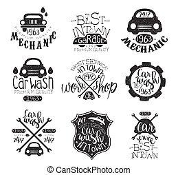 francobollo, lavaggio i automobile, collezione, vendemmia