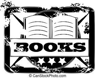 francobollo, libri, grunge