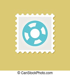 francobollo, lifebuoy, vettore