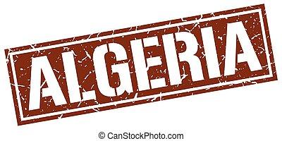 francobollo, marrone, quadrato, algeria