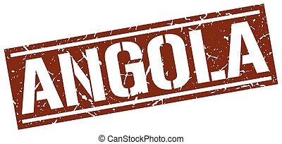 francobollo, marrone, quadrato, angola