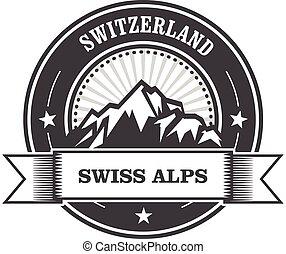 francobollo, montagne, svizzera, -, alpi