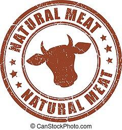 francobollo, naturale, carne