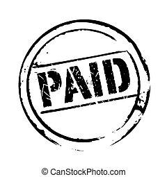 francobollo, nero, vettore, grunge, pagato